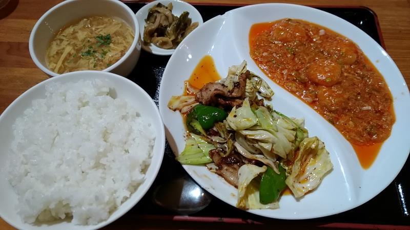 天心のチョイスメニュー(エビのチリソース&回鍋肉)