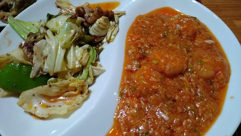 エビのチリソースと回鍋肉