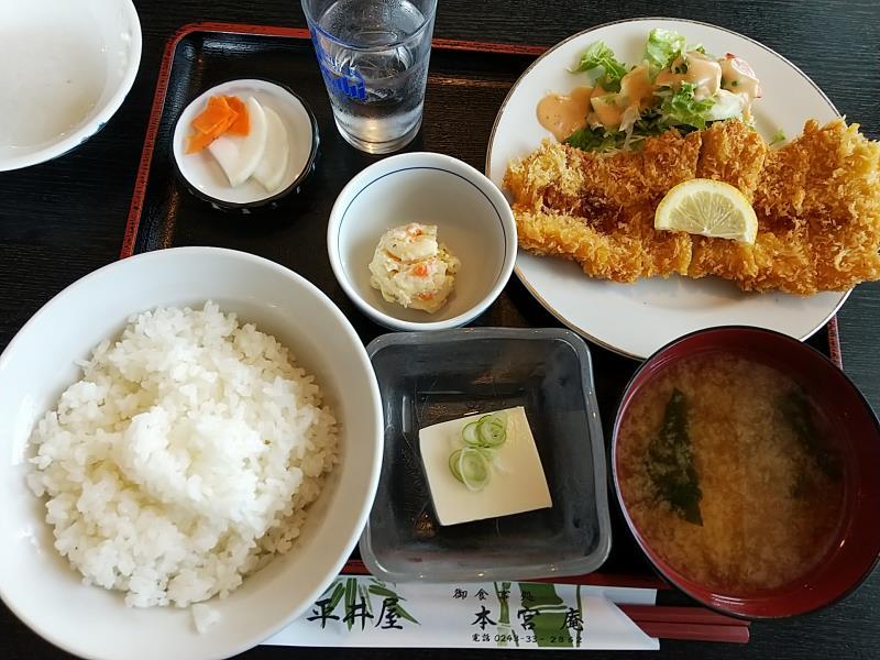 本宮庵の日替わりランチ「とんかつ定食」
